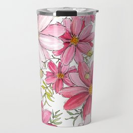 Pink Spring Flower Pattern Travel Mug