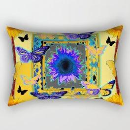 ORNATE BUTTERFLIES SUNFLOWERS GREY MONTAGE Rectangular Pillow