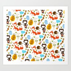 Fox, bear and rabbit Art Print