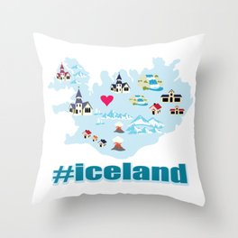 Iceland snow church volcano heart nature gift Throw Pillow