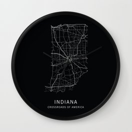 Indiana State Road Map Wall Clock