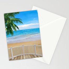 Balcony with a Beach Ocean View Stationery Cards