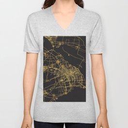 SHANGHAI CHINA GOLD ON BLACK CITY MAP Unisex V-Neck