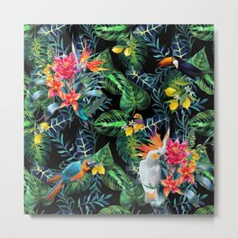 Tropical Pattern With Birds And Lemon Fruit Print.Exotic Flowers And Palm Leaves On Dark Background. Metal Print
