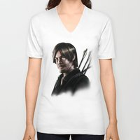 daryl V-neck T-shirts featuring Daryl Dixon by Angelo Quintero