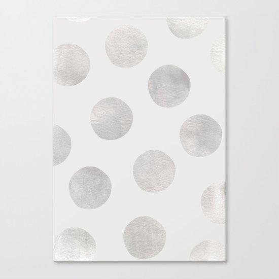 Silver Polka Dots Canvas Print