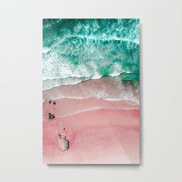 Beach in Portugal, Algarve, Lagos, Beach Print, Pink Beach Print, Bondi Beach, Pink Print, Ocean Metal Print