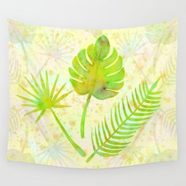 Tropical Leaf Watercolor Painting, Green Palm Tree Leaves Wall Tapestry