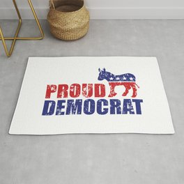Proud Democrat Donkey Distressed Rug