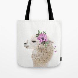 Baby Alpaca with Flower Crown Tote Bag