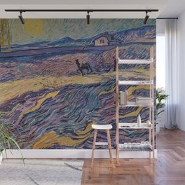 Enclosed Lavender Field with Ploughman by Vincent van Gogh Wall Mural