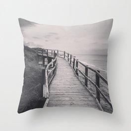 Black & white, beach photography, fine art print, long exposure b&w photograph Throw Pillow