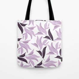Abstract modern pastel lavender white leaves floral Tote Bag