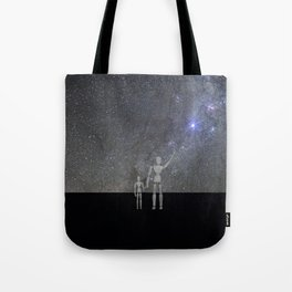 Wooden Anatomy Doll Father Shows Child the Milky Way Galaxy Tote Bag