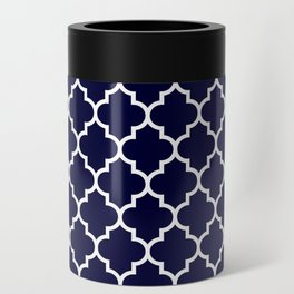 White Moroccan Quatrefoil On Navy Blue Can Cooler