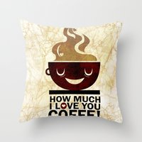 coffe Throw Pillows featuring Coffe, love coffe by Nayade Limnatide