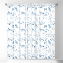 Arctic Wildlife Pattern (White and Blue) Blackout Curtain