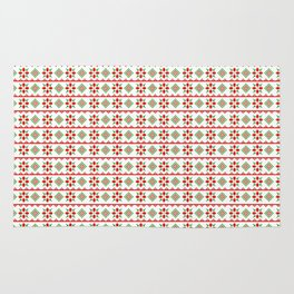 Red And Green Snowflake Christmas Pattern Rug