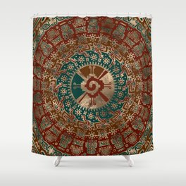 Hunab Ku Gold Red and Teal Shower Curtain