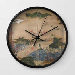 Kano Hideyori - Maple Viewers (1500s) Wall Clock