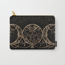 Triple Moon - Triple Goddess Gold and black Carry-All Pouch