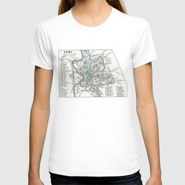 Vintage Map of Rome Italy (1862) T-shirt
