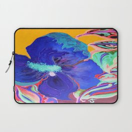 Birthday Acrylic Blue Orange Hibiscus Flower Painting with Red and Green Leaves Laptop Sleeve