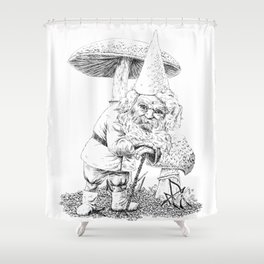 Knobby-caned gnome with mushrooms Shower Curtain