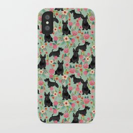 Scottish Terrier florals pattern dog breed dog art pet portraits pet friendly scottie gifts iPhone Case