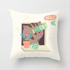 Hello Cat Throw Pillow
