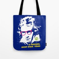 beethoven Tote Bags featuring Beethoven Hippie by Maldita Novena