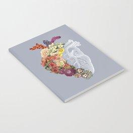 Flower Heart Spring Light Grey Notebook