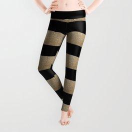 preppy contemporary minimalist great gatsby champagne black gold stripes Leggings