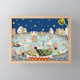 Snow Monkeys in Hot Spa Framed Mini Art Print