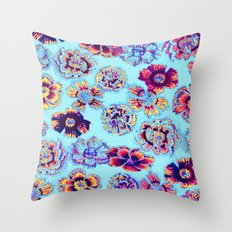 flowers on turquoise Throw Pillow
