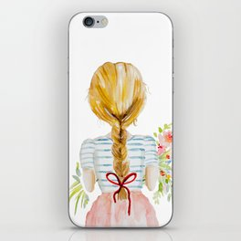 Blonde Girl with Flowers iPhone Skin