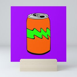 Purple Green & Orange Cartoon Soda Can Colourful Simple Art Mini Art Print