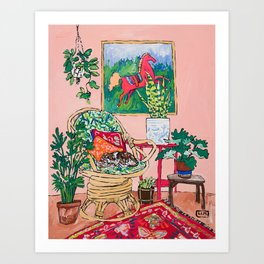 Napping Tabby Cat in Cane Chair in Pink Room with Horse Painting Art Print