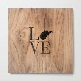 West Virginia Map State Love Home WV Wood Vintage Sign Metal Print