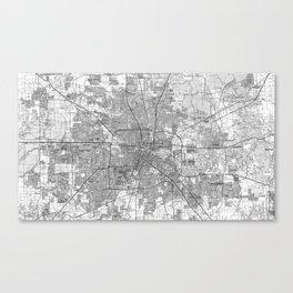 Houston Texas Map (1992) BW Canvas Print