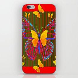 YELLOW BUTTERFLIES RED MODERN ART iPhone Skin
