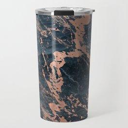 Blue & Rose Gold Marble Travel Mug
