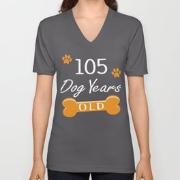 105 Dog Years Old Funny 15th Birthday Puppy Lover graphic Unisex V-Neck