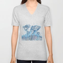world map city skyline 5 Unisex V-Neck