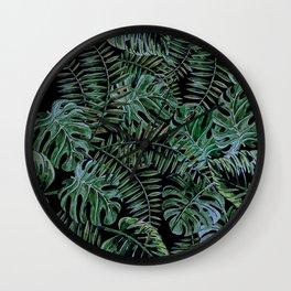 Tropical Night Palm Monstera Garden Wall Clock
