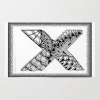 xmen Area & Throw Rugs featuring Zentangle X Monogram Alphabet Illustration by Vermont Greetings