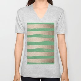 Painted Stripes Gold Tropical Green Unisex V-Neck