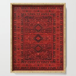Red Traditional Oriental Moroccan & Ottoman Style Artwork. Serving Tray
