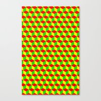 rasta Canvas Prints featuring Cubed - Rasta by Matt Cutaia