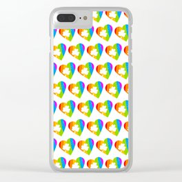 St. Patricks Day: Rainbow Hearts With Shamrocks Clear iPhone Case